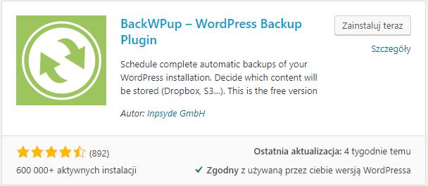 wtyczka backwpup widoczna na liście wtyczek do instalacji
