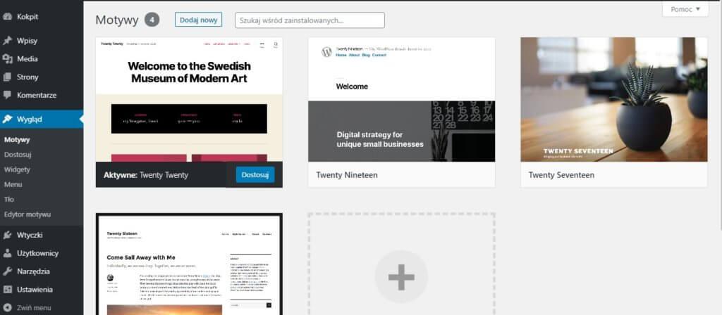 motyw i szablon - panel z motywamy wordpress